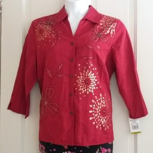 NWT AD Red Embroidered Floral Top Gold accents
